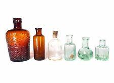 Superb 6 x ANTIQUE VINTAGE OLD CHEMIST APOTHECARY GLASS BOTTLES MEDICINE CURE