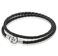 NEW AUTHENTIC PANDORA BLACK DOUBLE Leather Bracelet SMALL (590705CBK-D1) 13.8 in
