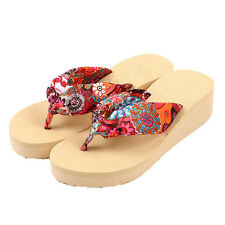 Boho Women Sandals Platform Wedge Summer Beach Flip Flop Casual Slippers KI38@