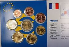 France Euro 8 Coins Uncirculated Set Mixed Dates 1999-2002