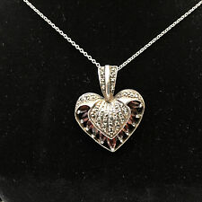 """Sterling Silver 1"""" Heart Necklace w/Citrine Stones 14-1/2"""" Chain"""
