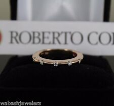 Roberto Coin 18K Rose Gold Parisienne Ruby Diamond Ring Band Size 7