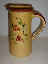 Elegant Poet-Laval France Faience Pottery Pitcher, Yellow, Cherries