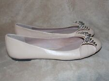 Vince Camuto Nude Silver STUDDED SPIKE Bow Leather Flats 10B Used No Box