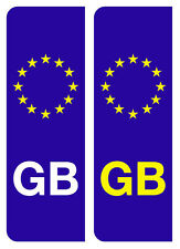2 LEGAL EUROPEAN GB NUMBER PLATE VINYL DECALS STICKERS FREE 1ST CLASS P&P