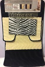 15 PC Bathroom Zebra Black- White Shower Curtain Mats Rug Set Hooks AccessoryNew