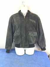 Ralph Lauren Polo Country Green Suede Leather Bomber A-2 Style Men's Large