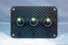 3 HOLE Carbon Fiber 3D WRAP w/ LED toggle switches - Green