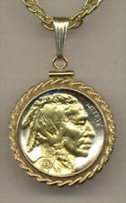 Silver & Gold Coin Necklace W/ Rope Bezel, U.S. Indian head nickel  #6