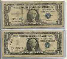 Lot Of 2 1957 $1 Blue Seal Silver Certificate big issues, 1 protector