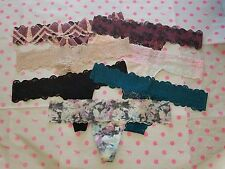 NWT Victoria's Secret PINK Lace Trim Thong Panty-Small Lot of 7 Teal Black