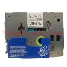 "Black on White 1/4 x 26"" Label Tape Compatible for Brother TZ-211 TZe-211 6mm 8m"