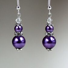 Purple pearls crystals vintage silver drop earrings wedding bridesmaid gift