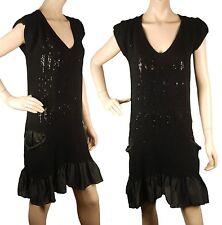 ConMiGo CB520 Glamorous Sleeveless Black Angora Sequin Jumper Dress with Silk Sa