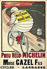 Art Ad Pneu Velo Michelin man  1913  Tyres Tires  Deco  Poster Print