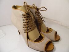 J Crew Back Zipper Leather Pumps Open Toe Heel Womens Size 12