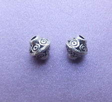 30 x Tibetan Style Round Ornate Bicone Spacer Beads in Antique Silver - 7mm