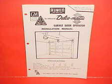 1959 1960 UNITED MOTORS DELCO GARAGE DOOR OPERATOR INSTALLATION SERVICE MANUAL