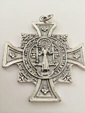 Saint Benedict HUGE Double sided Medal Cross Catholic Protection St. OSBR 2 1/2