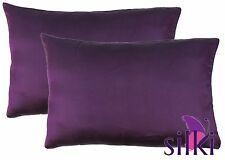 1 Pair:100% MULBERRY 19 momme CHARMEUSE Silk Pillow cases cover QUEEN STANDARD