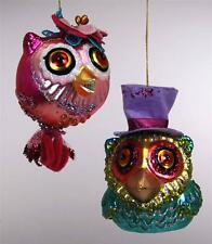 Katherine's Collection Happy Set of Two Owls Glass Ornaments 22-24447