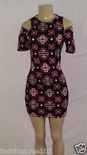 NEWT H&M WOMENS DIVIDED PATTERN SHORT SLEEVE CUT OUT SHOULDER DRESS SIZE 14 US