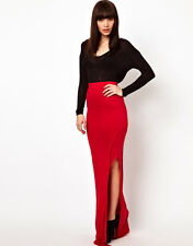 new RRP $250 IMPROVD RED ELASTIC WAIST MAXI SKIRT WITH SPLIT L last FREE POST