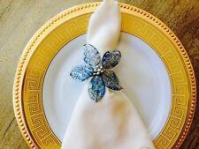 Handmade Beaded Flower Napkin Ring Set Of 8 blue Napkin Holder