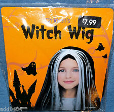 "Black and Silver children's witch wig - 18"" - HALLOWEEN NIP"