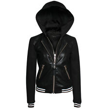 NWT Mackage Nolly Lamb Leather Bomber Varsity Jacket Moto Coat Black Hoodie * M