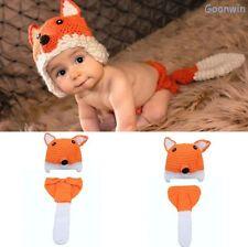 Neugeborene Baby Knit Strick Fotoshooting Kostüm Grau Fuchs Mütze Höschen Orange