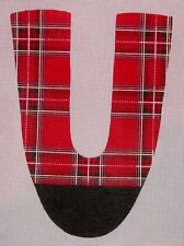 JG Red Plaid Pair Handpainted HP Needlepoint Slipper Shoe Canvases
