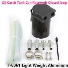 Car Autos Oil Catch Tank Can Reservoir Closed loop Black Universal Aluminum 11mm