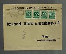 1923 Berlin Germany Inflation Deutsche Bank Cover to Vienna Austria