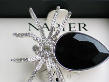 NIB NAPIER SILVER HALLOWEEN BROWN RECLUSE BLACK WIDOW SPIDER PIN BROOCH JEWELRY