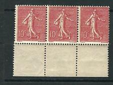 France Stamps 138 Y&T 129 10 c Red Sower Strip of 3 MNH F/VF 1903 SCV $54.00