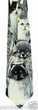 New Cats Eyes Mens Necktie Cat Kitten Siamese White Black Animal Gift Neck Tie