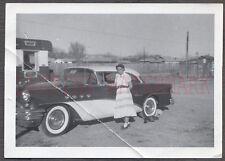 Vintage Car Photo Woman w/ 1955 Buick Automobile 658006