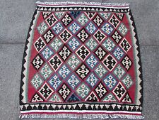 Fine Hand Made Traditional Persian Oriental Wool Pink Blue Small kilim 90x90cm