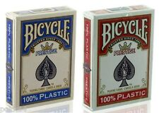2 Jeux de 52 cartes POKER BICYCLE PRESTIGE 100% plastique Bleu Rouge Jumbo 41005