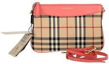 "$625 NEW BURBERRY ""PEYTON"" HORSEFERRY CHECK PINK LEATHER CLUTCH CROSS BODY BAG"