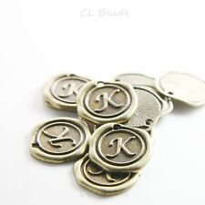 12pcs Antique Brass Base Metal Charms-Wax Seal-Letter-K-19mm (15706Y-J-208)