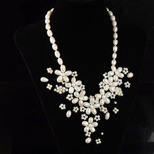 """s10429 Natural freshwater White Pearl beads flower necklace 21"""""""