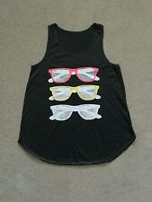 Sunglasses Print Girl Women's t Shirt Tank Top Black