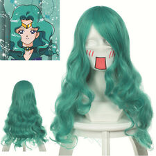 "sale  25.6""  (65cm) Curly Wavy Green Sailor Moon Neptune  Cosplay Wig"