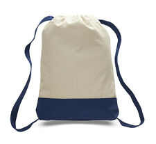 Large Natural-Navy Colors Sturdy Canvas Drawstring Sport Gym Hiking Backpack
