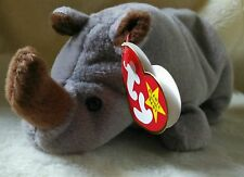 TY Beanie Babies Spike Rhinoceros Retired Stuffed Plush Toy NEW with PVC Pellets