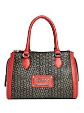 GUESS PROPOSAL BLACK+RED COATED CANVAS,G LOGO PRINT,SILVER,BOX SATCHEL,CROSSBODY