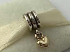 Authentic Pandora Silver &14K Gold Heart Dangle Bead Charm 790173 NEW