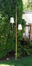 Vintage Midcentury Modern Tension Pole Lamp Wood Grain Two Shades/fixtures NICE